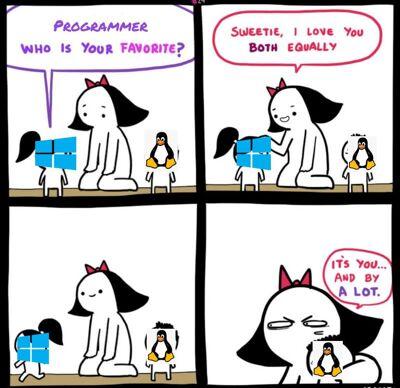 Meme de Win y Linux
